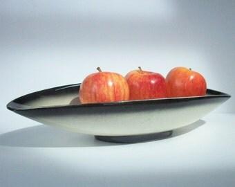 Vintage Modern Fruit Bowl / MCM / Sculptural Centerpiece / 1950's Sleek / Black and White