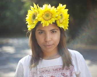 Sunflower Flower Crown - Spring, Summer, Homecoming, Fall, Wedding, Festival, Hippie, Halloween