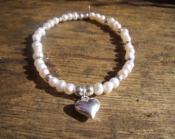 Fresh Water Pearl Bracelet with 925 Sterling Silver Elements and Your Choice of Charm