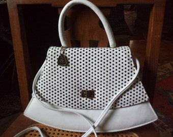 Vintage REEM Black & White Polka Dot Leather Handbag Shoulder Bag Purse 1980's