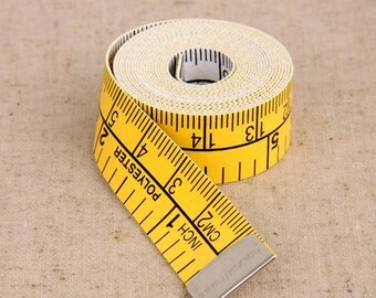 Soft Ruler-Measuring Tape-Flexible Ruler-Soft Feet-Double Side Yellow & White-Sewing Tool-Craft Tool