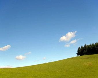 Peebles Pasture, original fine art photography, print, landscape, grass, field, scotland, hill, woods, nature, sky, summer, green, blue