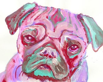 Pink and aquamarine pug painting Pug Painting  Portrait art print from  Original Artist Signed Pink sad Pug Art  Watercolour and Acrylic