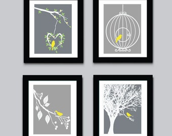 Birds Childrens Art Print, Kids Wall Art, Modern Kids Art Print, 549B
