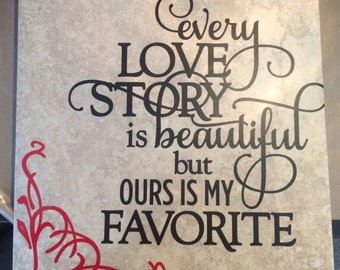 12x12  Love Story with Heart Tile