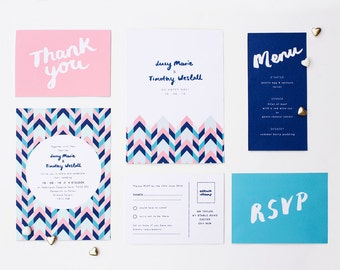 DIY Customisable and Printable Wedding Stationery Set - save the date, invite, RSVP front and back, order of service, menu, thank you card