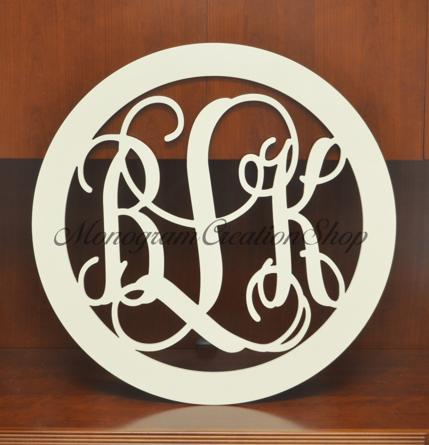 Large 30 Inch Border Wooden Monogrammed Wall Hanging