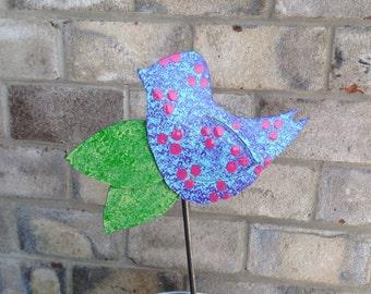 Metal Garden Art Garden Stake Blue Bird
