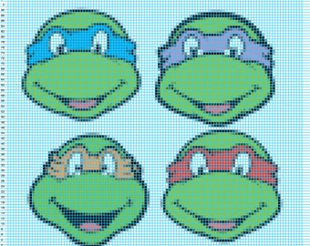 Teenage Mutant Ninja Turtles Crochet Pattern 96w X 120h