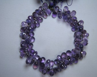 9-12mm Amethyst Faceted Drops Briolette Bead Strand