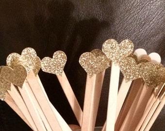 Glitter Drink Stirrers- Event Decor- Wedding- Stir Sticks- Bridal Shower- Engagement Party- Party- Reception-Coffee- Bar- Set of 12