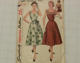 Vintage 50s Simplicity 4347 Misses One Piece Dress Pattern Size 18 1/2 Bust 37