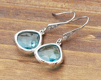 French CZ Earwire, Framed Icy Aqua Zirconia Droplet, Cubic Earrings