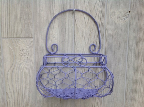 shabby chic wire basket cottage chic painted purple lavender