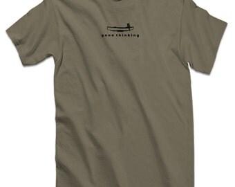 Canoe Fishing T Shirt Funny Shirts for Paddling Clothing - Gone Thinking Canoe