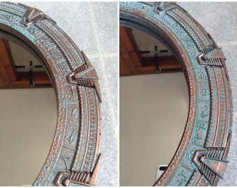 Stargate Mirror Large - SG1 or Atlantis - 12 inches (30 cm). Patinated