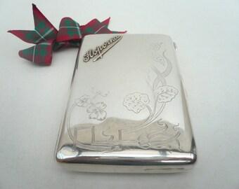 Silver Cigarette Case, Antique Russian, Russia, 84 Standard, Gold Lettering,  Floral Decorated,  c.1900, REF:216B