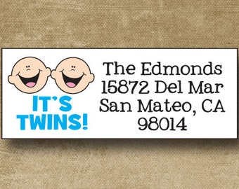 Twin Boy Baby Announcement Address Labels, Personalized Address Labels, New Baby Address Labels, Custom Twin address, Return Labels Twins