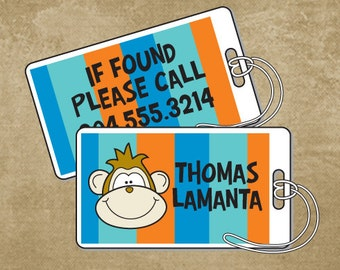 Monkey Luggage Tag, Bag Tag, Personalized Luggage Tag, Boys Luggage Tag, Diaper Bag Tags, Boys Luggage Tag, Back to School, Camp Tag