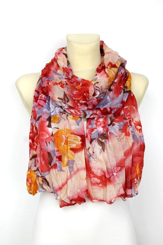 Scarf  Red Fashion Scarf  Fabric Scarf  Women Shawl  Unique Scarf  Fashion Scarf Fabric