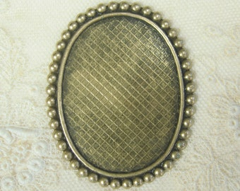 40x30 Brass Cameo Setting  Oval Findings 4-107-GO
