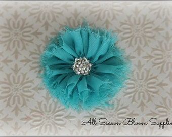 Vintage Chiffon Flowers, Teal, Chiffon Shabby Flowers With Metal Crystal Center, Flat Back, DIY Flowers