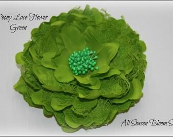 "5"" Flower, Peony Lace Flower, Big Fabric Flower, Peony Flower, Green, Lace Flower, DIY"