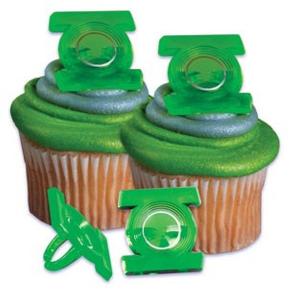 Green Lantern Cake Decorating Kit : 12 Green Lantern Cupcake Rings by ButterflyTwinkles on Etsy