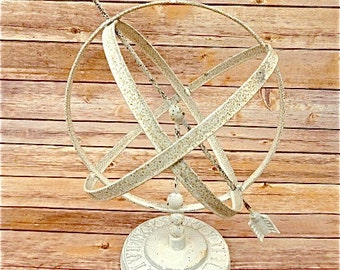Beautiful antique style garden wrought iron armillary sphere white distressed paint finish sundial ornament