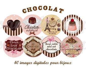 Chocolate - Digital image chocolate heart Paris 1 inch circle design for pendant, scrapbooking, bottle cap, printable collage