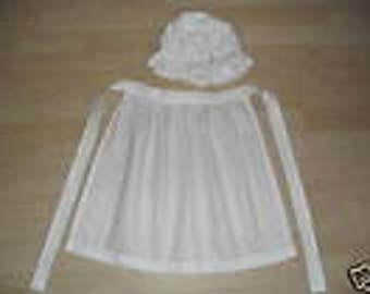 Mop hat and apron ladies victorian costume
