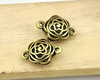Roses charm-5pcs Antique Bronze Gold and silver filaments hollow out a rose Charm Pendant Connector --15*21mm----G169