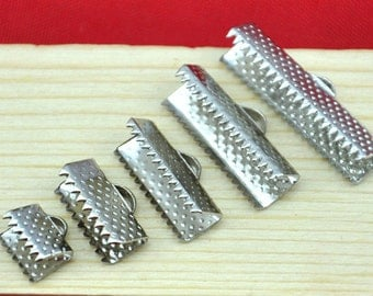 Crimp Bead -100pcs White K Plated Nickel Tone Mix Sizes Leather Fastener Clasps End Cord,DIY Accessory Jewelry Making ---G965