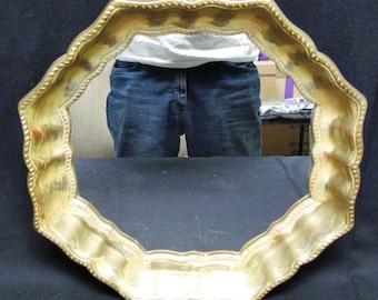 VINTAGE RARE TURNER Hollywood Regency Gold Finish Octagon Framed Wall Mirror