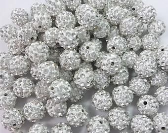 50  10mm  Pave Rhinestone Shamballa Beads Disco Balls Beads  Shamballa Jewelry  Shamballa Bracelet