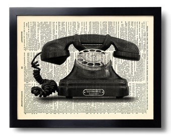 Vintage Phone Telephone Art Print Vintage Book Print Recycled Vintage Dictionary Page Collage Repurposed Book Upcycled Dictionary 278