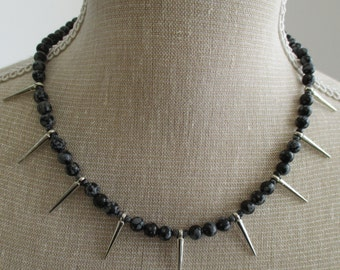 Snowflake obsidian and spikes necklace