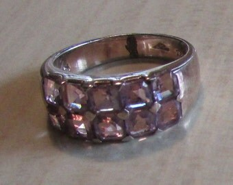 Sterling Silver and Amthyst Band Ring  Size 9