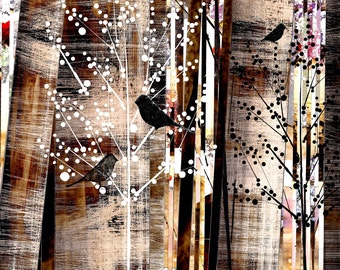 Three Blackbirds In Budding Trees / Early Birds, Bird Art, Nursery Blackbird Art, Rustic and Modern Bird Art