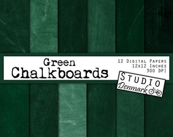 Green Chalkboard Digital Paper - Green Blackboard Backgrounds - 12 High Res Real Chalkboard Images - 12in x 12in - Instant Download