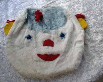 Clown Face Pillow Case Cover Kids 1950s Velvet & Felt