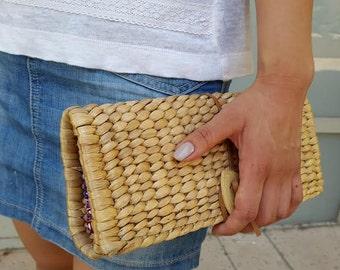 Handmade Clutch Bag/ Clutch/ Eco-friendly Handbag/ Purse Clutch/ Rustic Clutch/ Clutch Purse With Bamboo Button/Natural Color