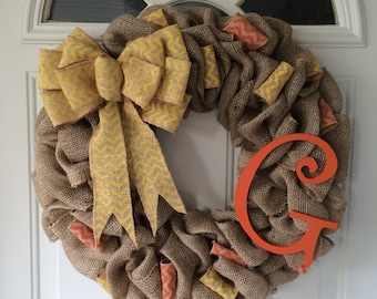 20'' You Choose Burlap Wreath, Year Round Burlap Wreath, Fall Wreath, Burlap Fall Wreaths, Christmas Wreaths