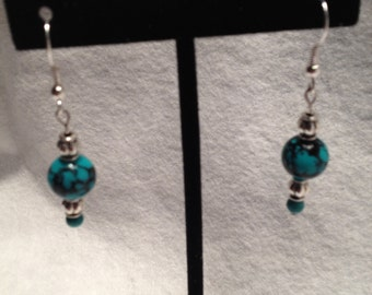 Turquoise and Silver Bead Earings