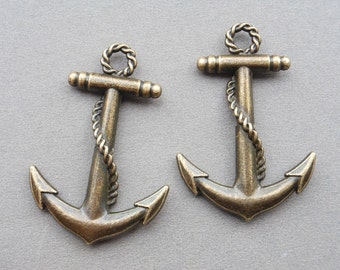 10 Pcs Anchor Charms Antique Bronze Anchor Charm Nautical Charm Sailor Charm Pirate Vintage Style Pendant Charm Jewelry Supplies 30x45mm