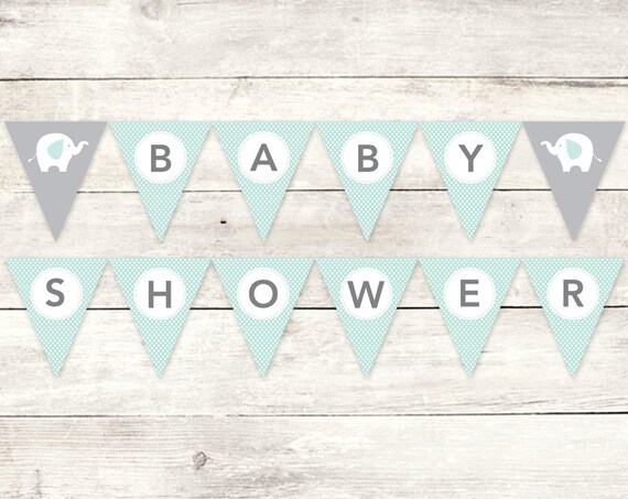 Great Baby Shower Banner Printable DIY Bunting Banner Elephant Sage Green Grey  Polka Dots Hanging Banner Digital Triangle   INSTANT DOWNLOAD