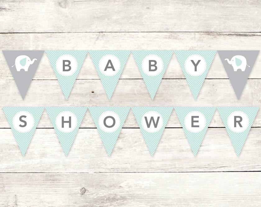 Baby Shower Banner Printable DIY Bunting Banner Elephant Sage