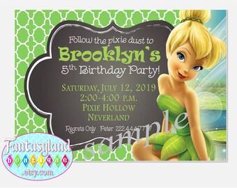Tinkerbell Inspired Invitation, Fairy Party, Party Printables, 5x7 invitation, 4x6 invitation, Printable Invitation, Disney Fairies