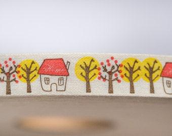 Zakka ribbon - houses and trees