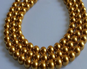 12mm Gold Glass Pearl